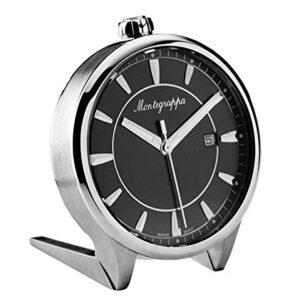 Montegrappa Fortuna quadrante nero in acciaio inox orologio da scrivania al quarzo IDFOTCIB