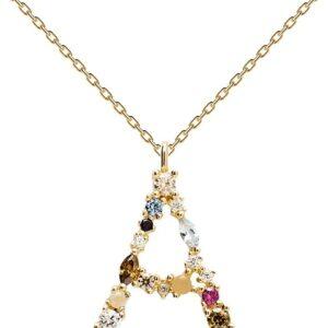 PDPAOLA - Collana Lettera A - Argento Sterling 925 Placcato in Oro 18 carati - Gioielli per Donna