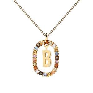 PDPAOLA - Collana Lettera B - Argento Sterling 925 Placcato in Oro 18 carati - Gioielli per Donna