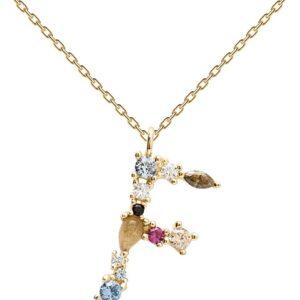 PDPAOLA - Collana Lettera F - Argento Sterling 925 Placcato in Oro 18 carati - Gioielli per Donna