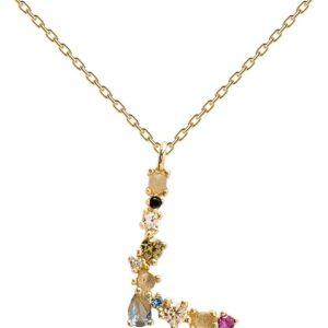 PDPAOLA - Collana Lettera L - Argento Sterling 925 Placcato in Oro 18 carati - Gioielli per Donna